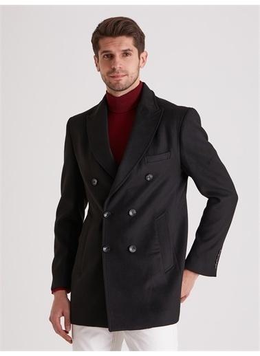 Dufy Kruvaze Erkek Kaban - Slim Fit Siyah